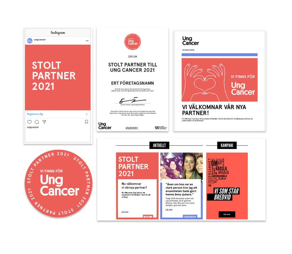 Exempelbilder på material som stödföretag får ta del av. Logga, nyhet på hemsidan, benämning i nyhetsbrev och sociala medier.